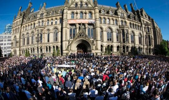 Crowds in Albert Square for Manchester Attack Vigil